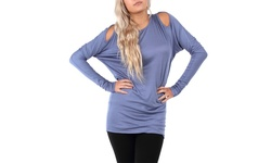 Women's Cold Shoulder Dolman Sleeve Tunic - Slate Blue - Size: Large