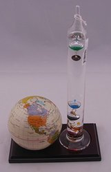 """G W Schleidt Globe with Wood Base & Thermometer - Tan - Size: 4"""""""