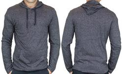 StraightFaded Men's Lightweight Marled Hoodie - Black - Size: Large