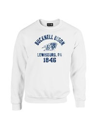 SDI NCAA Bucknell Bison Mascot Block Arch Neck Sweatshirt - White- Size: L