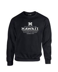 SDI NCAA Hawaii Rainbow Warriors Stacked Neck Sweatshirt - Black - Size: L