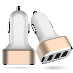 Cyberteck USB Car Charger - White & Gold