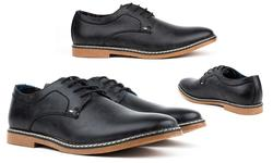 Tony's Men's Casual Plain-Toe Derby Shoes - Black - Size: 7.5