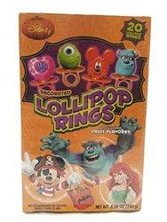 Disney Decorated Lollipops Rings Fruit Flavored  - 20 Rings - 8.46 OZ