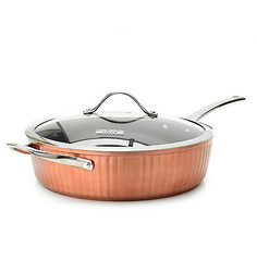 "Te Wainscott Ceramic Nonstick 11"" Chicken Fryer Copper (B407346)"