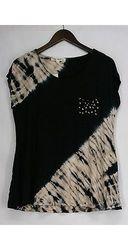 Indigo Thread C/S Diagonal Tie Dye Tee W/ Embellished Pocket - Size: M