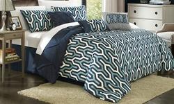 Chic Home Elegant 7-Piece Peyton Comforter Set - Navy - Size: Queen