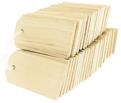 OrangeTag Wood Gift Tags / Blank Wooden Tags for Wine, Decor, Weddings (Pkg 100)