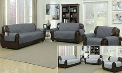"71""x88"" Water-Resistant Microfiber Loveseat Cover - Grey/Light Gray"