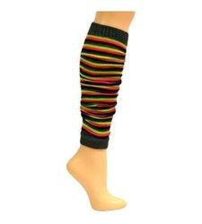 Mopas Luxury Divas Lime Pink Grey & Black Striped Knit Leg Warmers - 4 Pc
