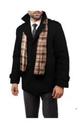 Braveman Men's Single Breasted Wool Blend Coat - Black - Size: Small