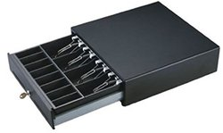 """Bematech CD330S CD330 Economy Cash Drawer, Stainless Steel Front, Hardwired RJ12, Compatible with Epson Printer, 13"""" W x 13"""" L x 3.5"""" H, Black"""