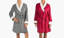 Olive Street Plush Robe: Red Bud-l/xl