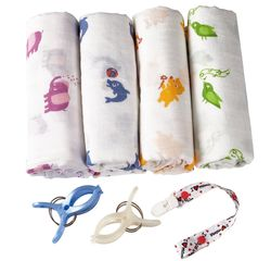 4 Bamboo Swaddle Blankets + Stroller Clips/Pacifier Clip/Sleeping Guide