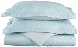 600TC Cotton Blend Paisley Full Queen Duvet Cover Set  Blue