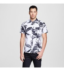Mossimo Men's Short Sleeve Button Down Shirt - Black/White