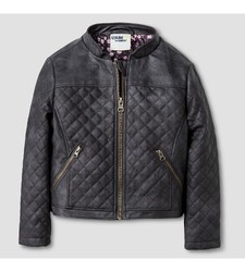 Toddler Girls' Quilted Moto Jacket - Grey - Size: 6T