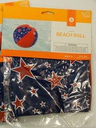 Beach Ball Pool Party Toy Red & Blue W/ Stars 24""