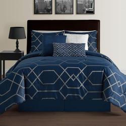 Hampton 7Pcs Modern Geometric Down Alternative Comforter Set- Blue- Queen