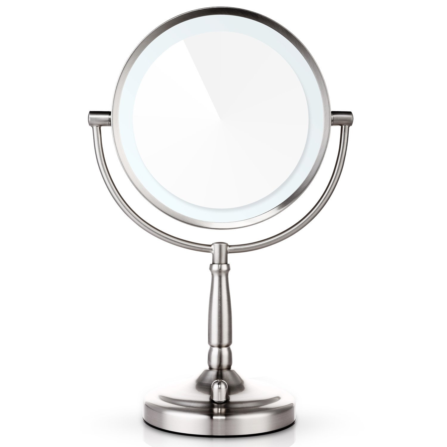 "... Miusco 8"" 7X Lighted Magnifying Two Sided Makeup Mirror - Brushed Nickel ..."