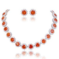 Ever Faith Women's Elegant Star Round Orange CZ Necklace Earrings Set