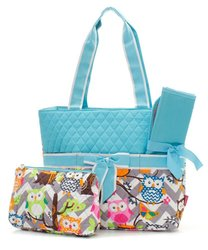 Owl Print Quilted 3-Pc Diaper Handbag w/ Baby Changing Pad & Pouch - Aqua