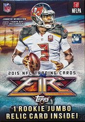 2015 Topps FIRE NFL Football with 7 Packs & ROOOKIE JUMBO RELIC Card!