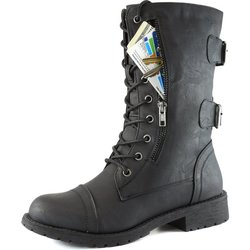 Women's Military Up Buckle Combat Boots with Credit Card Pocket -Black/7.5