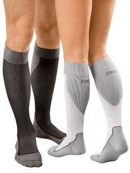 Jobst Unisex 15-20 mmHg Sport Knee High Compression Sock - White/Gray - L