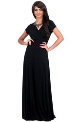 KOH KOH Women's Long Sexy Cap Cocktail Gown Maxi Dress- Black- Small