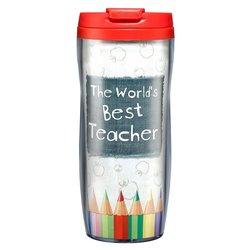 """Christian Art Gifts """"Best Teacher"""" Polymer Travel Mug"""