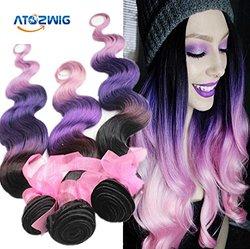 Brazilian Virgin Hair 3 Bundles Body Wave Pink Remy Human Hair - 16/18/20