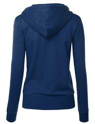 MBJ Women's Active Soft Zip Up Fleece Hoodie Sweater - Navy - XL