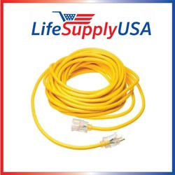 LifeSupplyUSA 12/3 100' 125 Volt 15 AMP Lighted Extension Cord