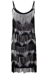 Women's 1920s Flapper Fringe Tassel Charleston Cocktail Dress - Black/Gray