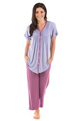 TexereSilk Women's Sweet Paradise Pajama Set - Bordeaux - Size: XL