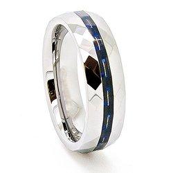 Women's 6mm Black/Blue Carbon Fiber Inlay Faceted Tungsten Ring - Sz: 12.5