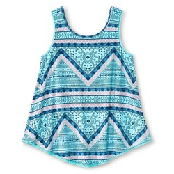 Xhilaration Girls' Crochet Trim Seafoam Tank Top - Aqua - Size: S (6-6X)