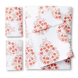 Threshold Block Print Paisley Warm Sheet Set - Orange - Size: Full