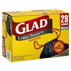 Glad 30 Gallon Large Trash Drawstring Bags - 28 Ct