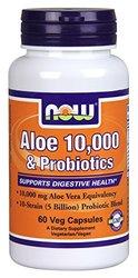 NOW Foods Aloe Vera 10,000 & Probiotics -- 60 Veg Capsules