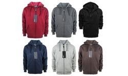 Lee Hanton Mens Zip Up Fleece Sherpa Lined Hoodie - Black - Size: Medium