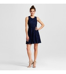 Xhilaration Girl's Lace Fit & Flare Dress - Navy - Size: XS