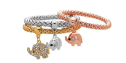 18K Gold Plated Tri-Gold Elephant Charm Bracelet
