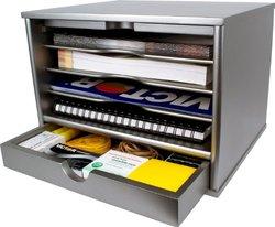 Victor Wood Desktop Organizer with Closing Door - Classic Silver(S4720)