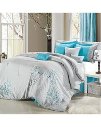 Pink Floral Grey/Turquoise Queen 8pcs Comforter Set