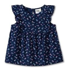 Oshkosh Toddler Girls' Flutter Sleeve Floral Tank Top - Nightfall Blue/18M