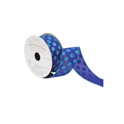 Wondershop 20 ft. x 1-1/2 inch Fabric Polka Dot Sheer Ribbon - Blue