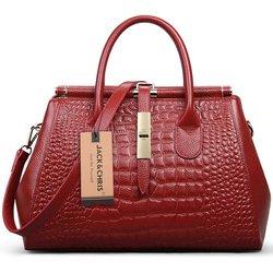 Jack&Chris Women Genuine Leather Shoulder Bag Top-handle - Red - WBDZ024