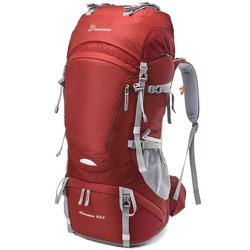 Mountaintop 65L Water-Resistant Hiking Backpack - Red